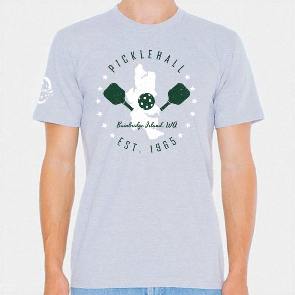 Bainbridge Island pickleball t-shirt, heather gray - Picklesphere.com.