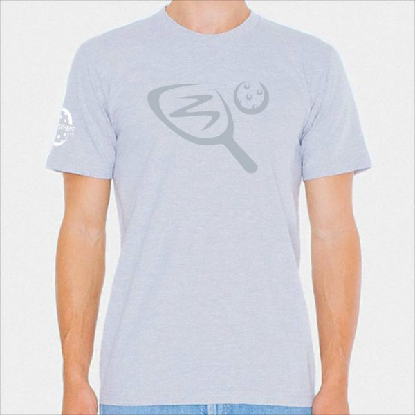 Paddle & ball pickleball t-shirt, heather gray - Picklesphere.com.