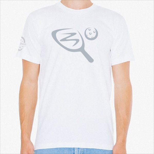 Paddle & ball pickleball t-shirt, white - Picklesphere.com.