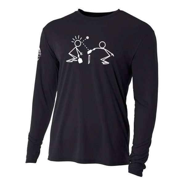 Stick figures long-sleeve performance shirt - Picklesphere.com.