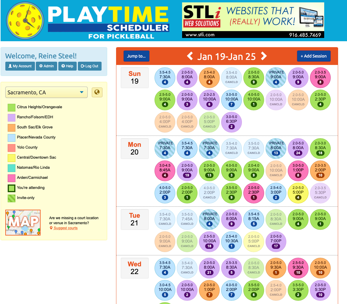 PlayTime Scheduler interface - Picklesphere.com